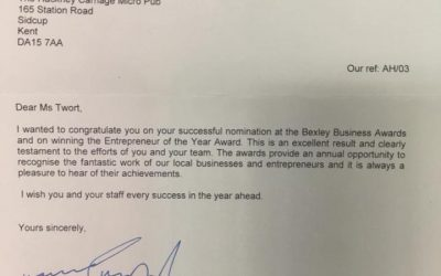 MP congratulates the Hackney Carriage on our success