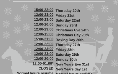 Christmas and New Years Opening Hours